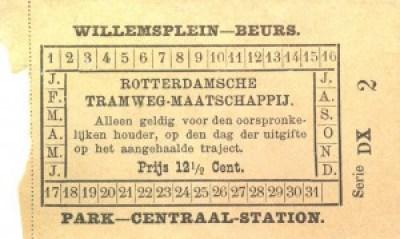 Plaatsbewijs van 12,5 cent voor het gehele traject Willemsplein – Beurs of Park – Centraal Station.  Het plaatsbewijs is uitgegeven na verlenging van 27 mei 1880 van de lijn Willemsplein – Binnenwegschebrug tot het Beursplein.
