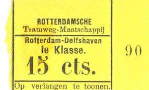 Na invoering van het klassensysteem waren de plaatsbewijzen van de stoomtram Rotterdam - Schiedam in een oogopslag te onderscheiden van de kaartjes voor het stadsnet. Dit is een plaatsbewijs uit de periode rond 1882 toen de lijn net verlengd was naar Schiedam.