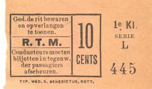 In d eeerte klasse moest 10 cent betaald worden voor een rit van de Coolsingel naar Delftshaven.