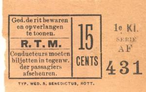 Voor het traject van Delftshaven naar Schiedam betaalde men in de eerste klasse 15 cents.