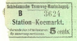"""Voor de """"tegenrichting"""" Station - Koemarkt werden groene biljetten uitgegeven."""