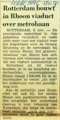 19710105 Rotterdam bouwt in Rhoon viaduct over metro (NRC)