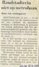 19710125 Trein niet op metrobaan. (NRC)