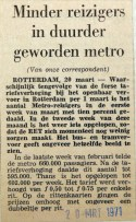 19710320 Minder reizigers in duurder geworden metro