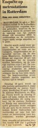 19710416 Enquete op metrostations in Rotterdam