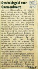 19711124 Overheidsgeld voor Ommoordmetro (Wijkblad Alex)