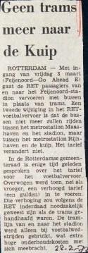 19720222 Geen tram naar de Kuip.