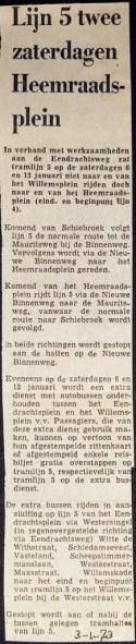 19730103 Lijn 5 naar Heemraadsplein.