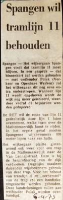 19730406 Spangen wil lijn 11 houden.