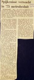 19741221 Spijkenisse verwacht metrobesluit. (NRC)