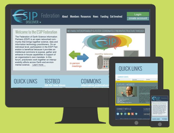 Responsive web design for esipfed.org on the Drupal platform.