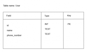 SQLite database user table