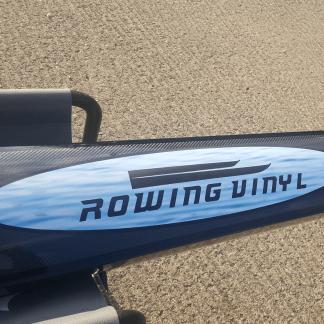 Custom boat sticker on a rowing boat