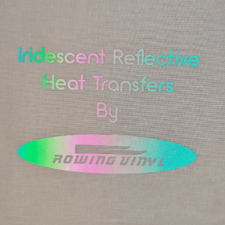 Iridescent reflective iron on letters