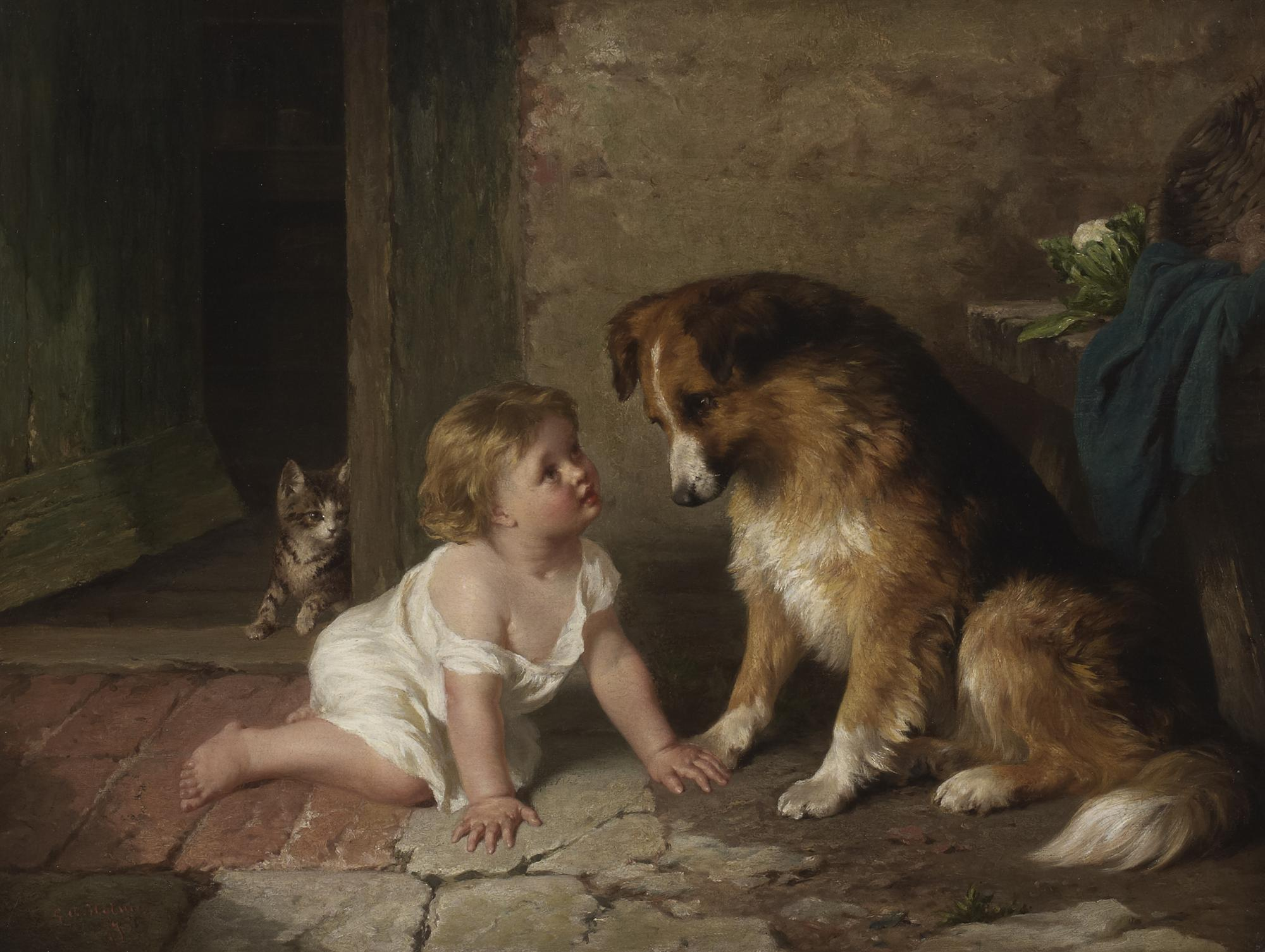 View George Augustus Holmes Playmates At Rowles Fine Art