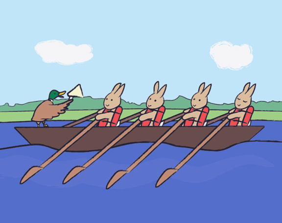 bunnies rowing