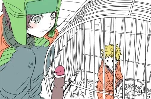 Anime/Manga Style South Park Fanart - Kyle Broflovski, Kenny McCormick, Mr. Hankey