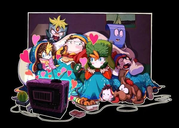 Anime/Manga Style South Park Fanart - Butters (Professor Chaos), Towelie, Cartman, Kyle, Stan, Kenny