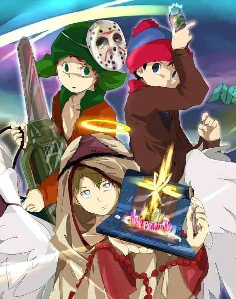 Anime/Manga Style South Park Fanart - Kyle Broflovski, Stan Marsh, Jason Voorhees