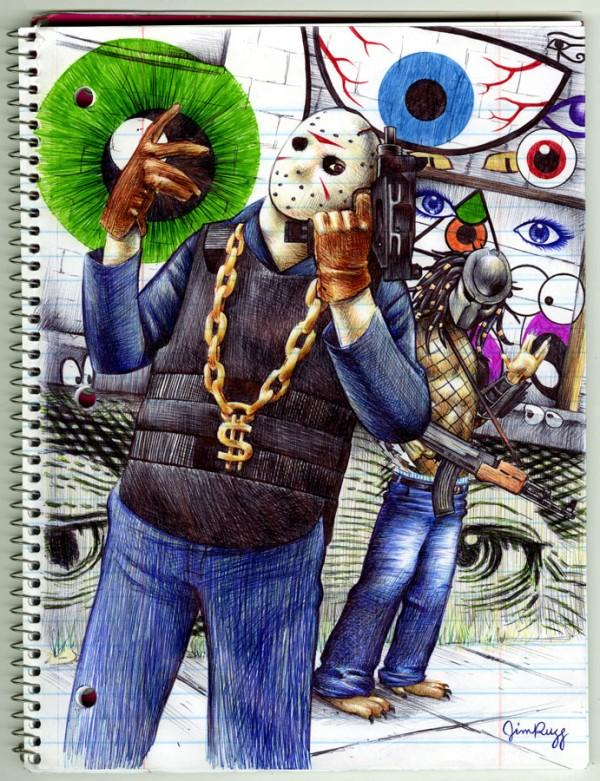Jason Voorhees and the Predator Gangsta Pen Drawing by Jim Rugg