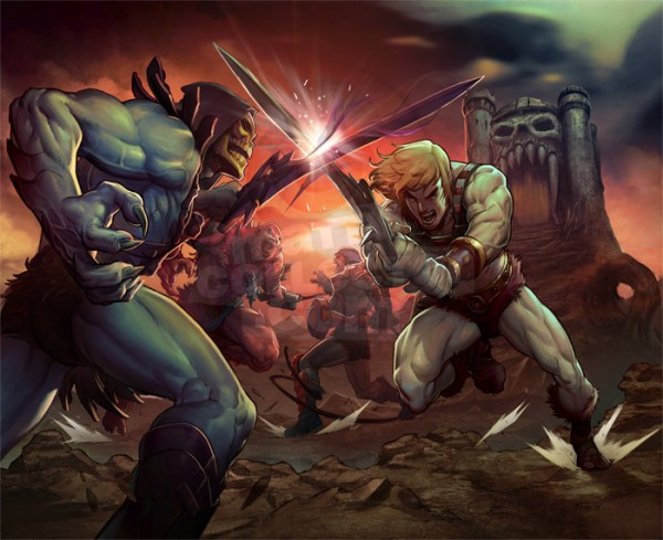 Castle Greyskull Battle Scene feat. Skeletor, Beast-Man, Man-At-Arms and He-Man