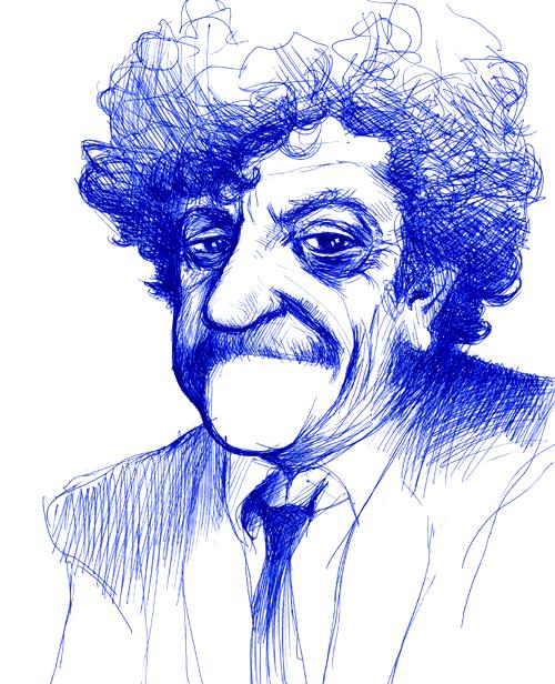 Kurt Vonnegut Pen Drawing by Jim Rugg