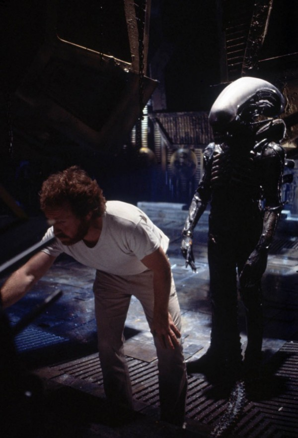 Ridley Scott with Bolaji Badejo in the Alien suit