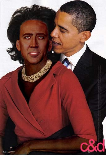 Nicolas Cage as Michelle Obama with Barack Obama - Face Swap