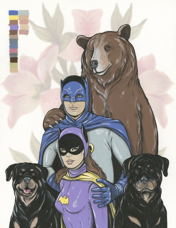 Batman (Adam West), Batgirl (Yvonne Craig), 2 Dogs, and a Bear by Steve Seeley