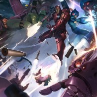Metal Fatigue by Kai Lim - Iron Man & Mega Man vs. Galactus & Sentinels