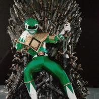 Green Ranger Sitting on the Iron Throne from Game of Thrones - Mighty Morphin Power Rangers - Tommy Oliver