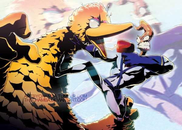 Big Bird vs Earthworm Jim by Jeffrey 'CHAMBA' Cruz - fanart, gaming, sesame street