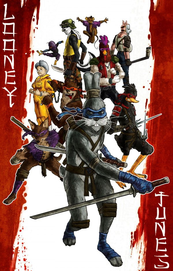 Looney Mutant Ninja Tunes by Luke Denby - tmnt, looney tunes, mashup, fanart