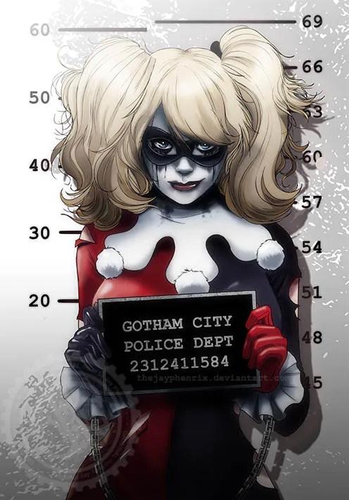 Harley Quinn Mugshot Art Based on Cosplay Photo of Ryoko-Demon