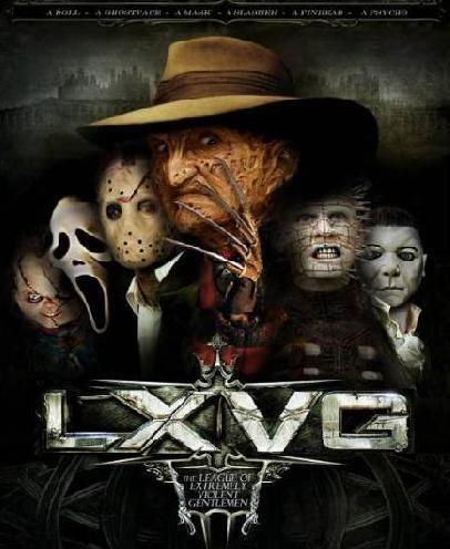 League of Extraordinary Gentlemen, Chucky, Child's Play, Ghostface, Scream, Jason Voorhees, Friday the 13th, Freddy Krueger, Nightmare on Elm Street, Pinhead, Hellraiser, Michael Myers, Halloween
