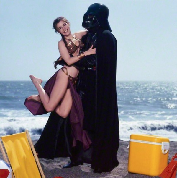 Slave Leia and Darth Vader on beach - Star Wars Rolling Stone Cover July 1983