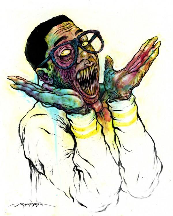 Demonic Steve Urkel by Alex Pardee - Family Matters, Horror, Monster, Scary