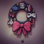 Pixelated Gaming Christmas Wreath - pixel art, video games, 1-up