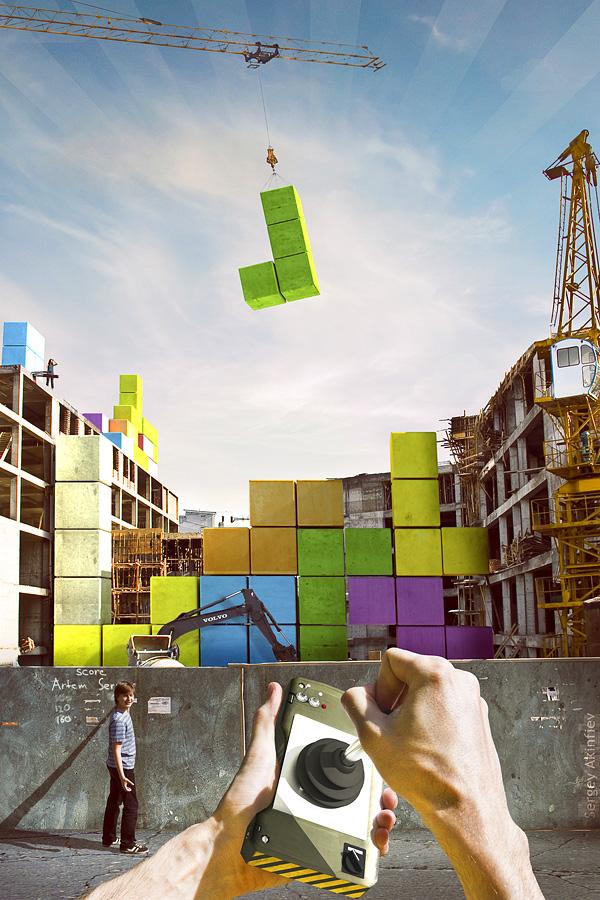 construction of a building using giant Tetris blocks