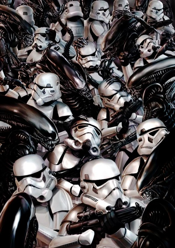 Stormtroopers vs Aliens by Robert Shane [Star Wars Mashup Art]