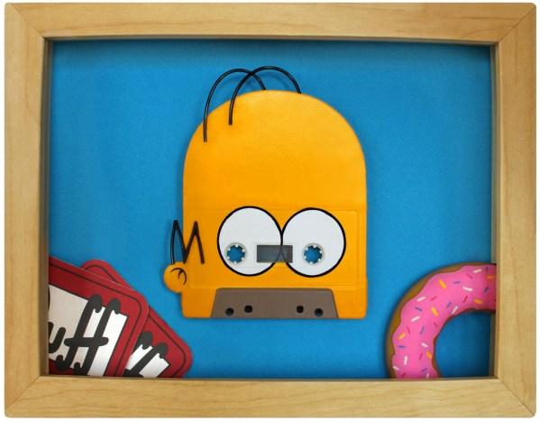 Homer Simpson Cassette Tape Art by Benoit Jammes