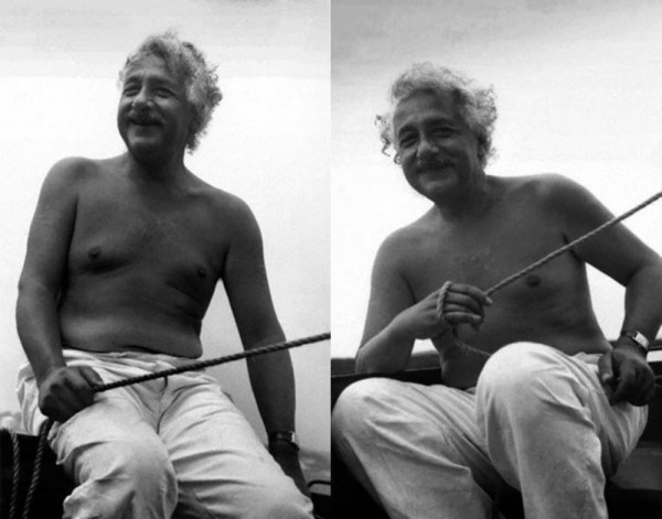 Photo: Albert Einstein Shirtless and Chillin' on a Boat