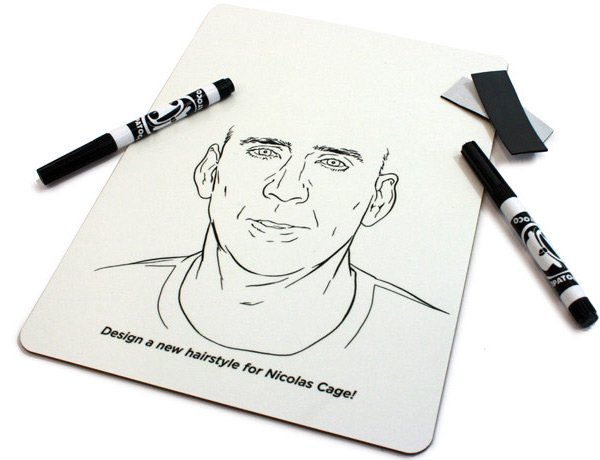 Create Your Own Nicolas Cage Hairstyle Whiteboard by Brandon Bird