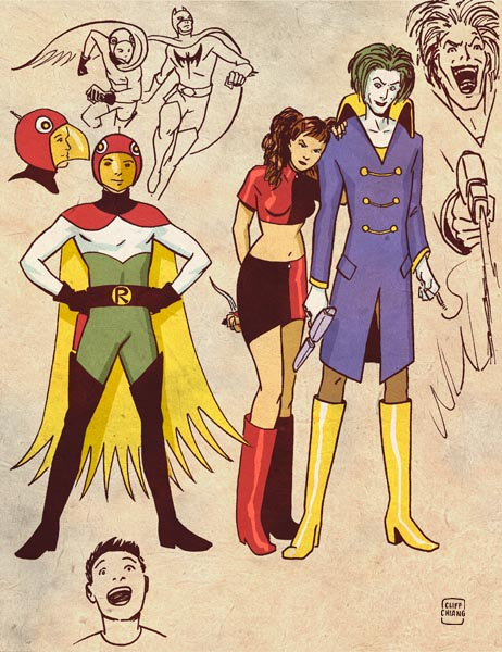 Robin, Harley Quinn, Joker - Retro Anime Style DC Superheroes by Cliff Chiang
