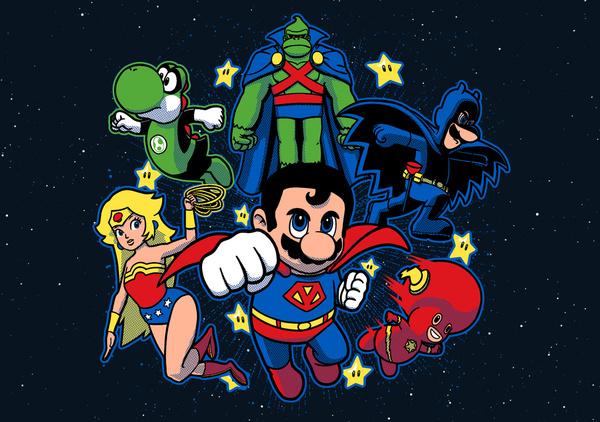 Mushroom League: Super Mario Bros x Justice League Mashup - Gaming Art