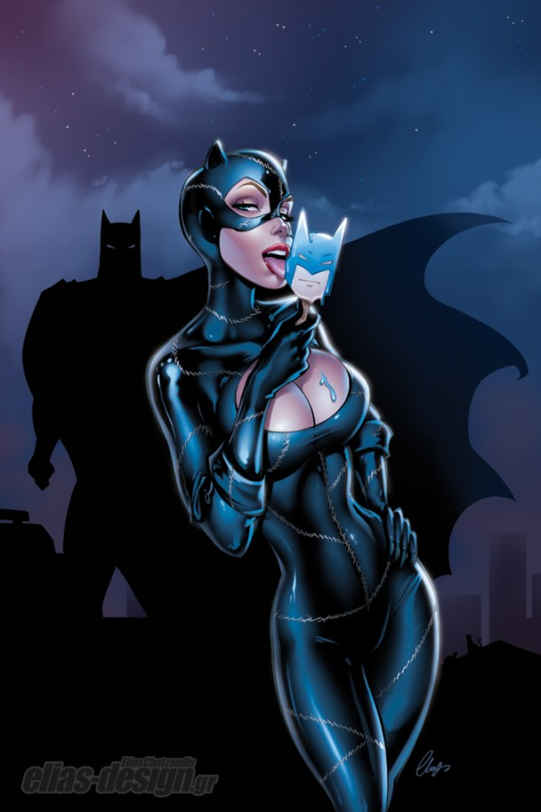 Catwoman Pinup Art by Elias Chatzoudis - batman comics