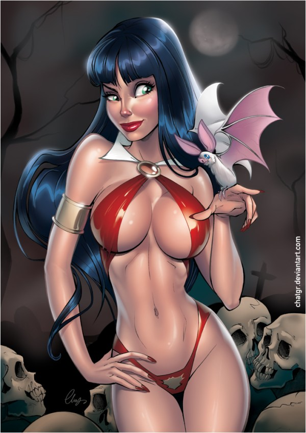 Vampirella Pinup Art by Elias Chatzoudis