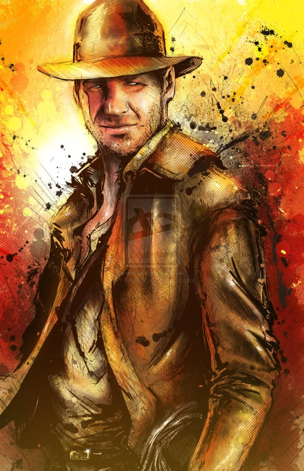 Indiana Jones Portrait by Vincent Vernacatola - Movie Art