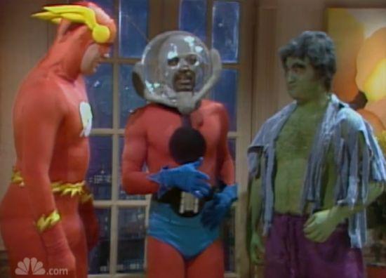 Saturday Night Live Superhero Party Sketch - Bill Murray - Superman, John Belushi - Hulk, Dan Aykroyd - Flash, Garrett Morris - Ant-Man