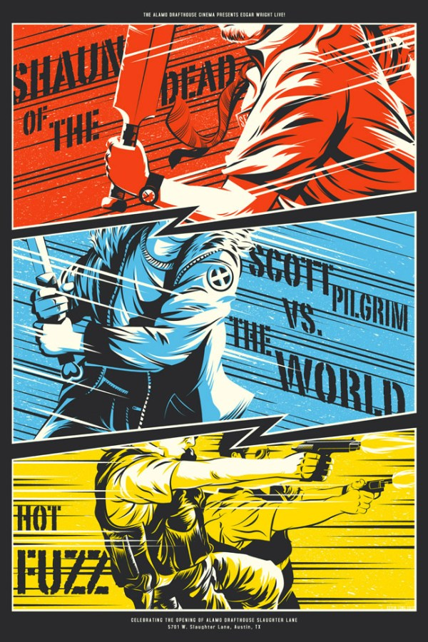 Edgar Wright Triple Feature: Shaun of the Dead, Scott Pilgrim vs the World, Hot Fuzz Poster by Kevin Tong